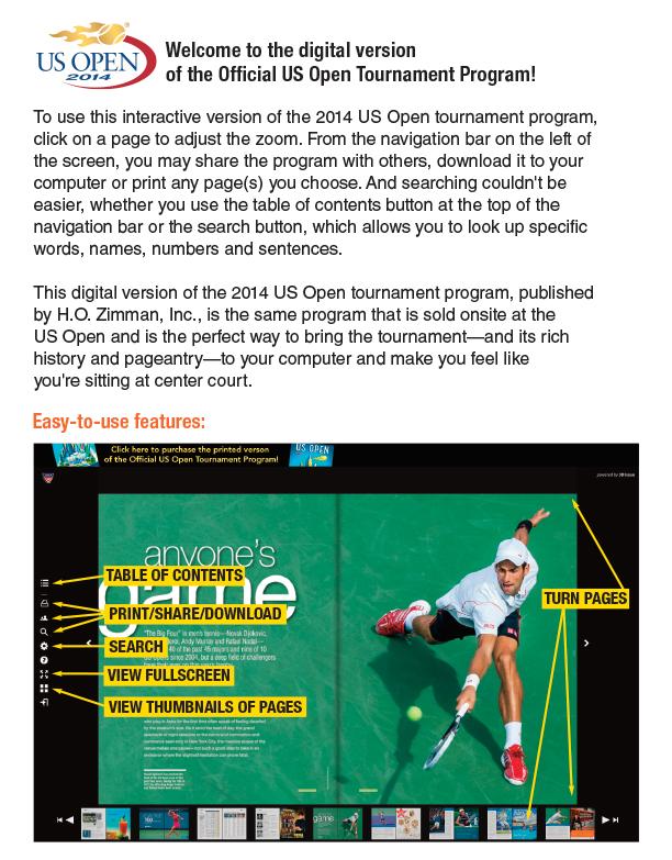 ab4d4a67b1d0 Official US Open Tennis Tournament Program