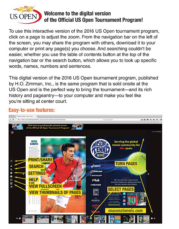 fb92f6abb618 Official US Open Tennis Tournament Program